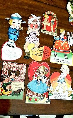 Lot of 8 vintage 1930's Valentine cards. Some mechanical. Some have writing.