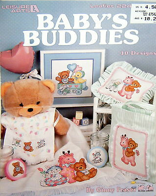 Leisure Arts Baby's Buddies by Ginny Fraser - cross stitch leaflet - used