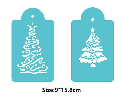2 Pcs Packed Christmas T Cookie Cake Stencil Decorate Mould Fondant Biscuit Tool