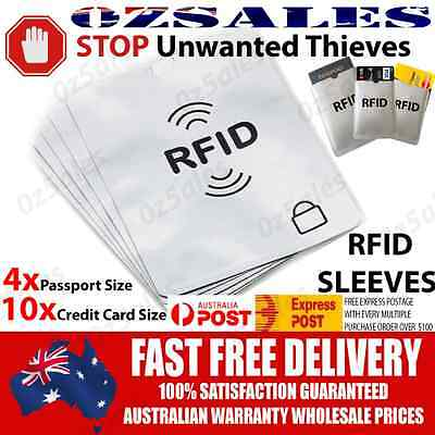 4x Passport & 10x ID RFID Blocking Credit Card Sleeve Shield Holder Protector 2