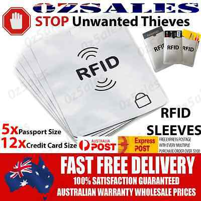 5x Passport & 12x ID RFID Blocking Credit Card Sleeve Shield Holder Protector 2