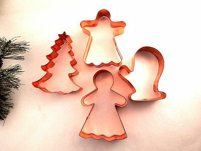 Copper Cookie Cutters Christmas Angel Gingerbread Mitten Tree Baking Tools