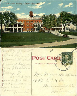 Soldiers Home main building Minneapolis Minnesota MN mailed 1911