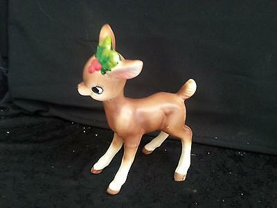 "Vintage Christmas - Josef Original 6"" Reindeer w/Holly Excellent Condition"