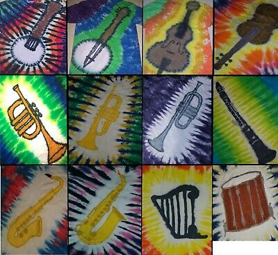 ADULT Handmade Tie Dye shirt MUSIC - BANJO CELLO VIOLIN TRUMPET SAXOPHONE PIANO