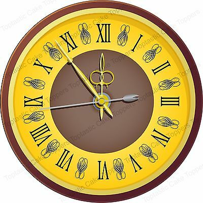 Antique Vintage Roman Clock Face Background Pattern Edible Icing Cake Topper