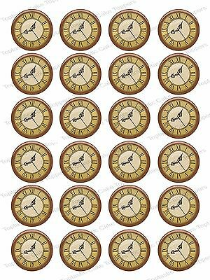 24 Antique Vintage Clock Face Edible Icing Fairy Cake Cupcake Bun Toppers