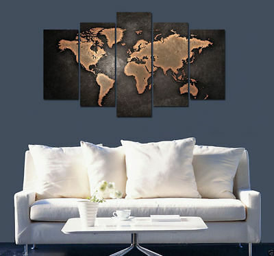 Modern Abstract Art Print Oil Painting Wall Decor Canvas Map (No Frame)