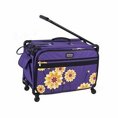 """Tutto Tutto 22"""" Sewing Machine Trolley on Wheels in Purple Dahlia New"""