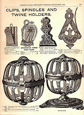 1893 Marshall Field Catalog Page~Twine String Holders~Horseshoe Clips~Spindles