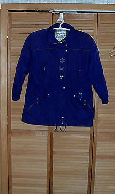 Vintage Womens Obermeyer Ski Jacket-Navy Blue-Thermolite-Angelika-Roomy--Size 14