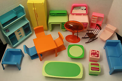 Vintage Lot  Barbie Furniture 1970s Dream House Rocking  Toilet Grill Fridge
