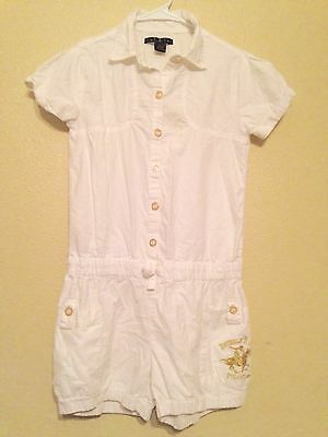 Beverly Hills Polo Club Girls White Short Jumpsuit Romper Gold Print Sz 14/16