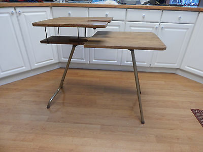 Vtg folding sewing machine table portable two tier level or flat laminate
