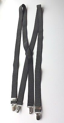 "CLIP-ON BRACES Black and White Elasticated Adjustable 1"" Strap Ex Cond FREE P&P"