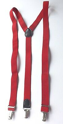 "CLIP ON BRACES Red Elasticated and Adjustable 43"" Long UNUSED! FREE P&P"