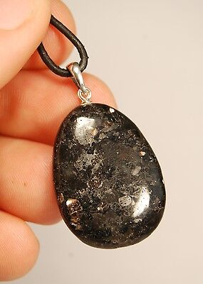 925 HYPERSTHENE PENDANT + Cord 3.4cm 9g Healing Crystal Sterling Silver