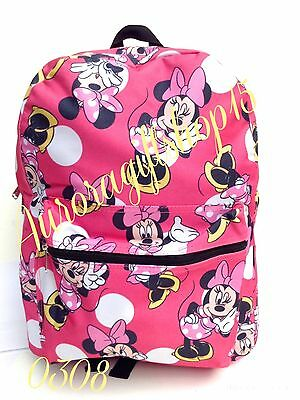 "Disney Minnie Mouse Allover Print 16"" Girls Large School Backpack-Pink-0308"