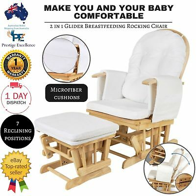 Breast Feeding Rocking Chair Sliding Comfortable Wooden Baby Glider With Ottoman