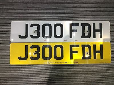 J300FDH cherished personalsed number plate on certificate