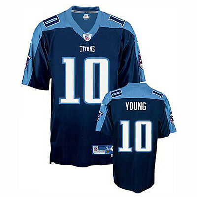 Nfl American Football Tennessee Titans Vince Young Premier Jersey Shirt Blue L