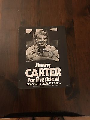 Original 1976 New York Jimmy Carter Campaign Poster Old New Stock.