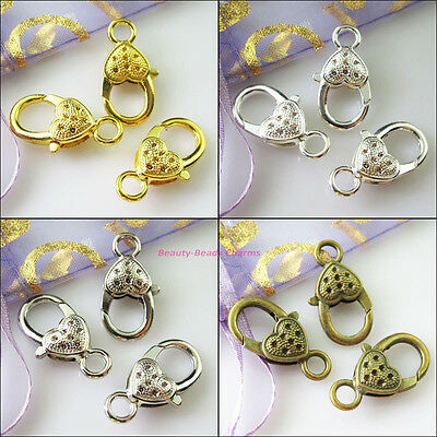 6Pcs Heart Lobster Clasps Connectors Gold Dull Silver Bronze Plated 14x27mm