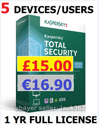Kaspersky Total Security 2017 - 5 PC/Mac/Android 1-Year License (Download,No CD)