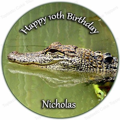 Personalised Alligator Crocodile Edible Icing Birthday Party Cake Topper