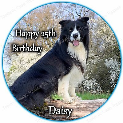 Personalised Border Collie Dog Edible Icing Birthday Party Cake Topper