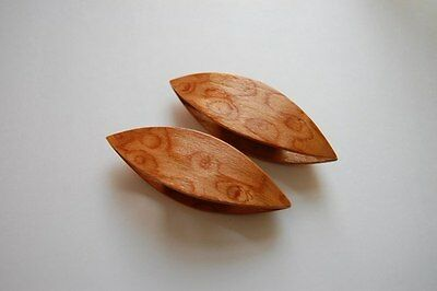 Wooden Tatting Shuttle Hand Made in Beech With Sharp Pick Decorated With Cuts Ou