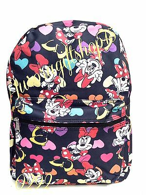 "Disney* Minnie Mouse  Allover Print 16"" Girls Large School Backpack-Black-0292"