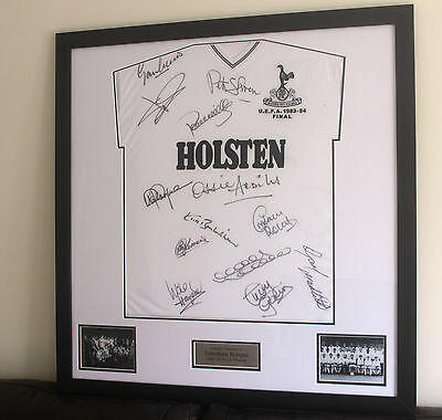 Signed and framed Tottenham 1984 UEFA cup winners shirt by 13 spurs