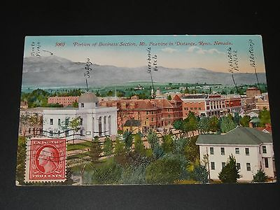 Cpa - Portion Of Business Section - Mt Peavine In Distance - Reno - Nevada -1911
