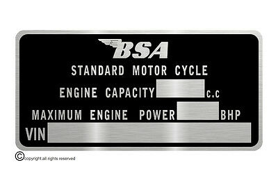 B.S.A. motorcycle bantam M.O.T.   data plate quality vin-tage new bsa