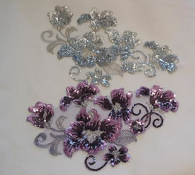 Silver Or lilac purple sequined lace applique / floral sequins lace motif By pcs