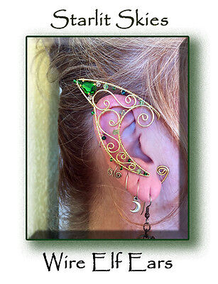 Brass Wire Elf Ears, Pair with Peridot Swarovski Crystals, Handcrafted