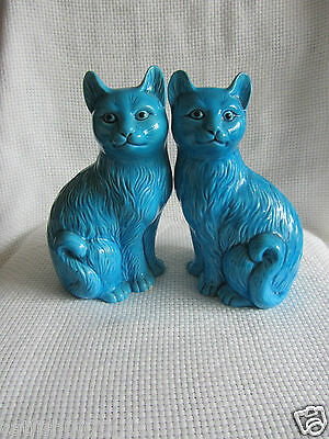 Vintage Chinese Porcelain Turquoise Seated Cats Statue Pair