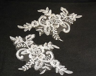 white or ivory floral lace applique / bridal wedding tulle lace motif for sale