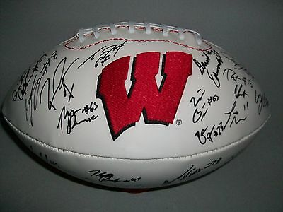 WISCONSIN BADGERS 2016 TEAM signed autographed LOGO FOOTBALL w/COA! ON WISCONSIN