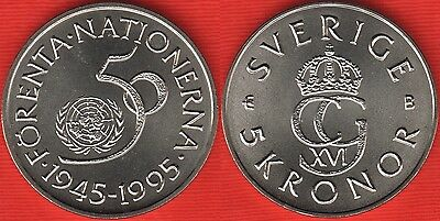 """Sweden 5 kronor 1995 km#885 """"United Nations"""" UNC"""