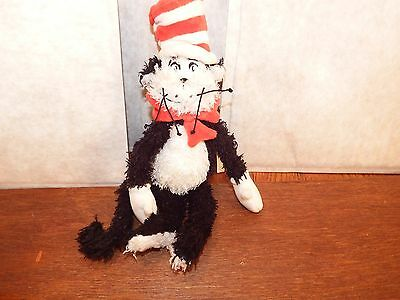"RARE 12"" Cat in the Hat soft plush figure toy Dr Seuss beanie 2001 furry fluffy"