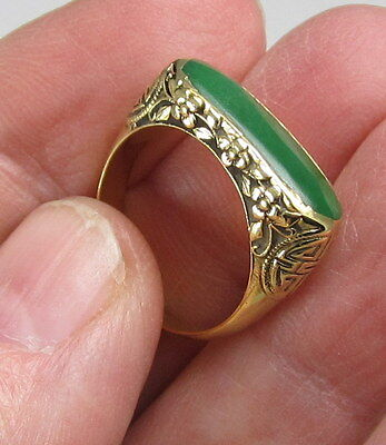 Estate Antique Chinese Signed 22K Yellow Gold Rich Green Jade Saddle Flower Ring