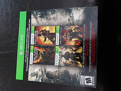 Gears of War digital download codes for 1,2,3, Judgment/Judgement Xbox One & 360