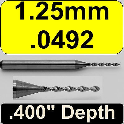 "1.25mm (.0492"") Diameter Solid Carbide Drill 1/8"" Shank Kyocera #105-0492.400"