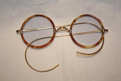 Rare Early Bausch & Lomb Gold & Tortoiseshell Rimmed Round Tinted Spectacles EXC