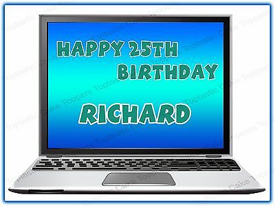 Personalised Laptop Computer Edible Icing Birthday Party Cake Topper