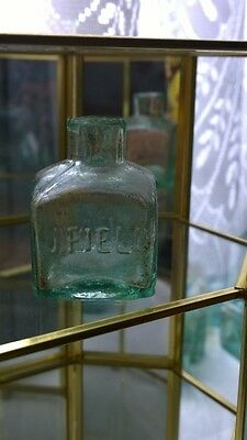 Antique Victorian Stunning Early J . Field Inkwell Ink Bottle  Rare Shear Lip