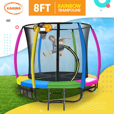8ft Trampoline Free Safety Net Spring Pad Cover Mat Ladder Shoe Bag - Rainbow