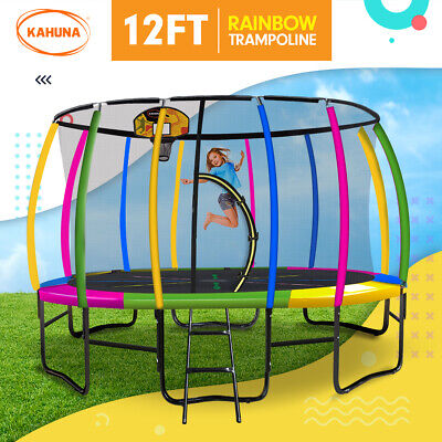 12ft Trampoline Free Safety Net Spring Pad Cover Mat Ladder Shoe Bag - Rainbow